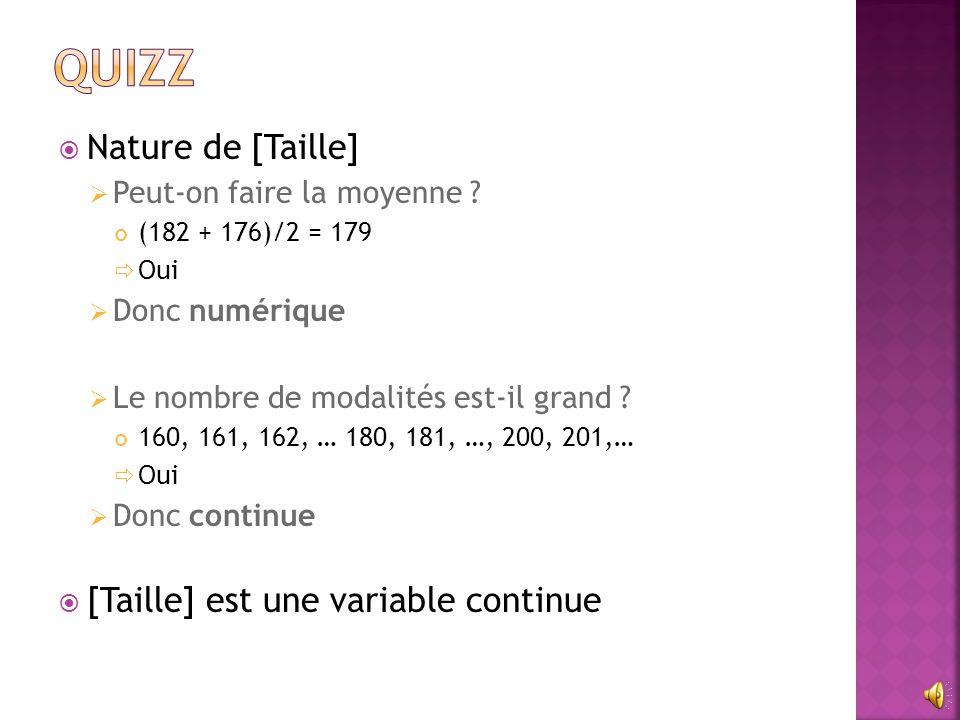 Quizz Nature de [Taille] [Taille] est une variable continue